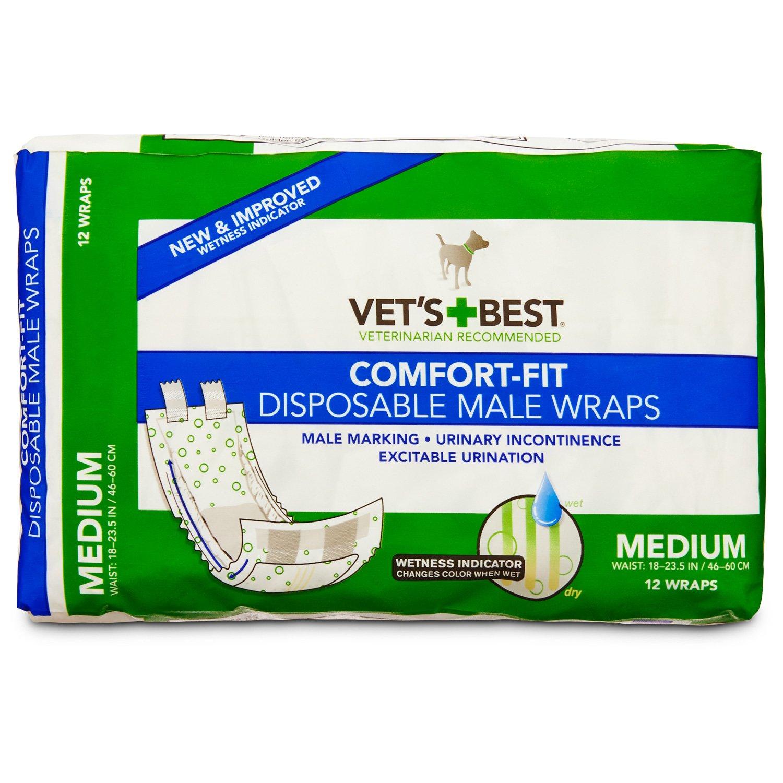 Vet's Best Comfort Fit Disposable Male Dog Wraps