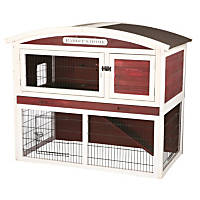 Trixie Natura Red & White Animal Hutch with Outdoor Run