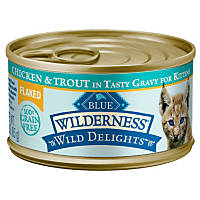 Blue Buffalo Wilderness Wild Delights Flaked Canned Kitten Cat Food, Chicken & Trout