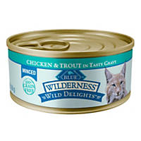 Blue Buffalo Wilderness Wild Delights Chunky Canned Adult Cat Food, Chicken & Trout