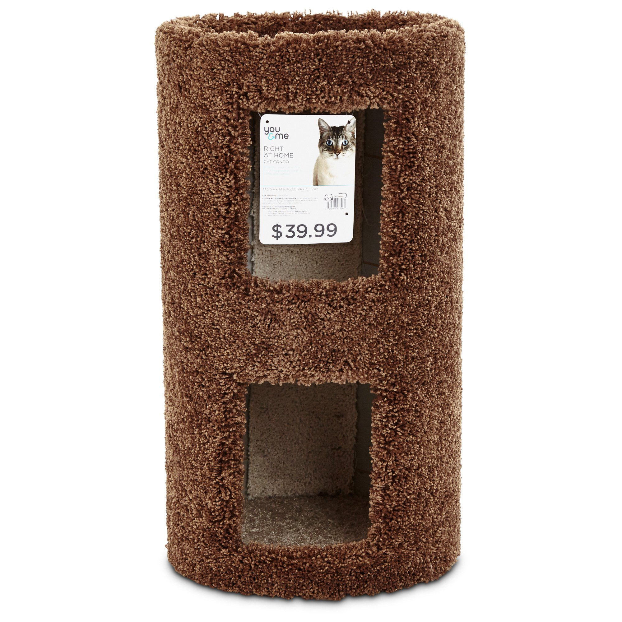 You & Me Two Story Round Cat Condo