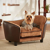 Enchanted Home Pet Ultra Leather Snuggle Dog Bed in Brown