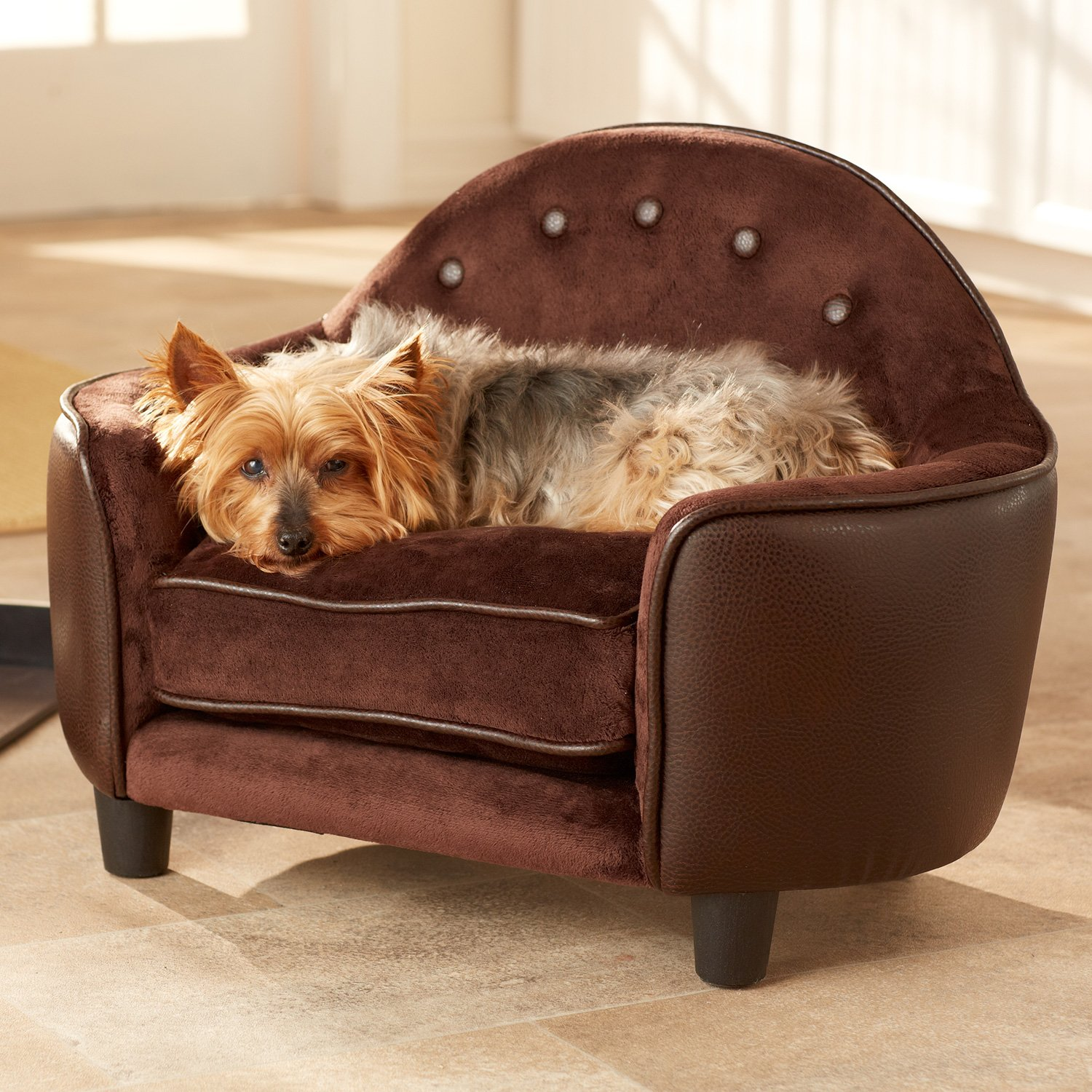 Enchanted Home Pet Plush Headboard Dog Bed in Brown