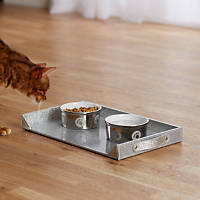 Enchanted Home Pet Feeding Tray in Silver