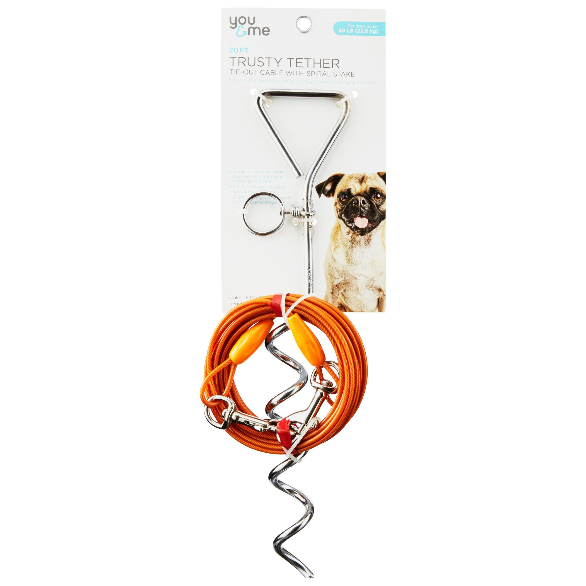 You & Me Trusty Tether Orange Tie-Out Cable with Spiral Stake