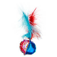Leaps & Bounds Mylar Ball with Feathers Cat Toy
