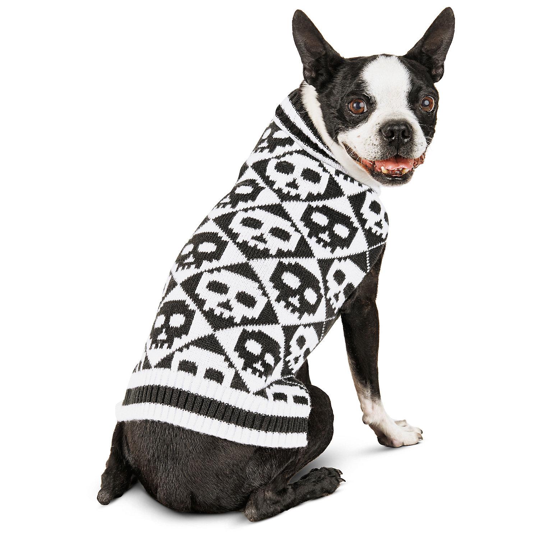 Petco Halloween Argyle Skull Dog Sweater, X-Small ()