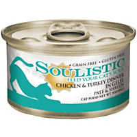 Soulistic Pate & Shreds Chicken & Turkey Dinner Adult Canned Cat Food in Gelee, 3 oz., Case of 12