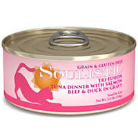 Soulistic Tri-Fusion Tuna with Grilled Salmon, Beef and Duck Dinner Adult Canned Cat Food in Gravy