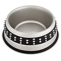Harmony Gray Spiked Stainless Steel No-Tip Dog Bowl