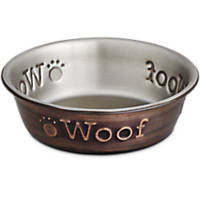 Harmony Stainless Steel Woof Copper Dog Bowl
