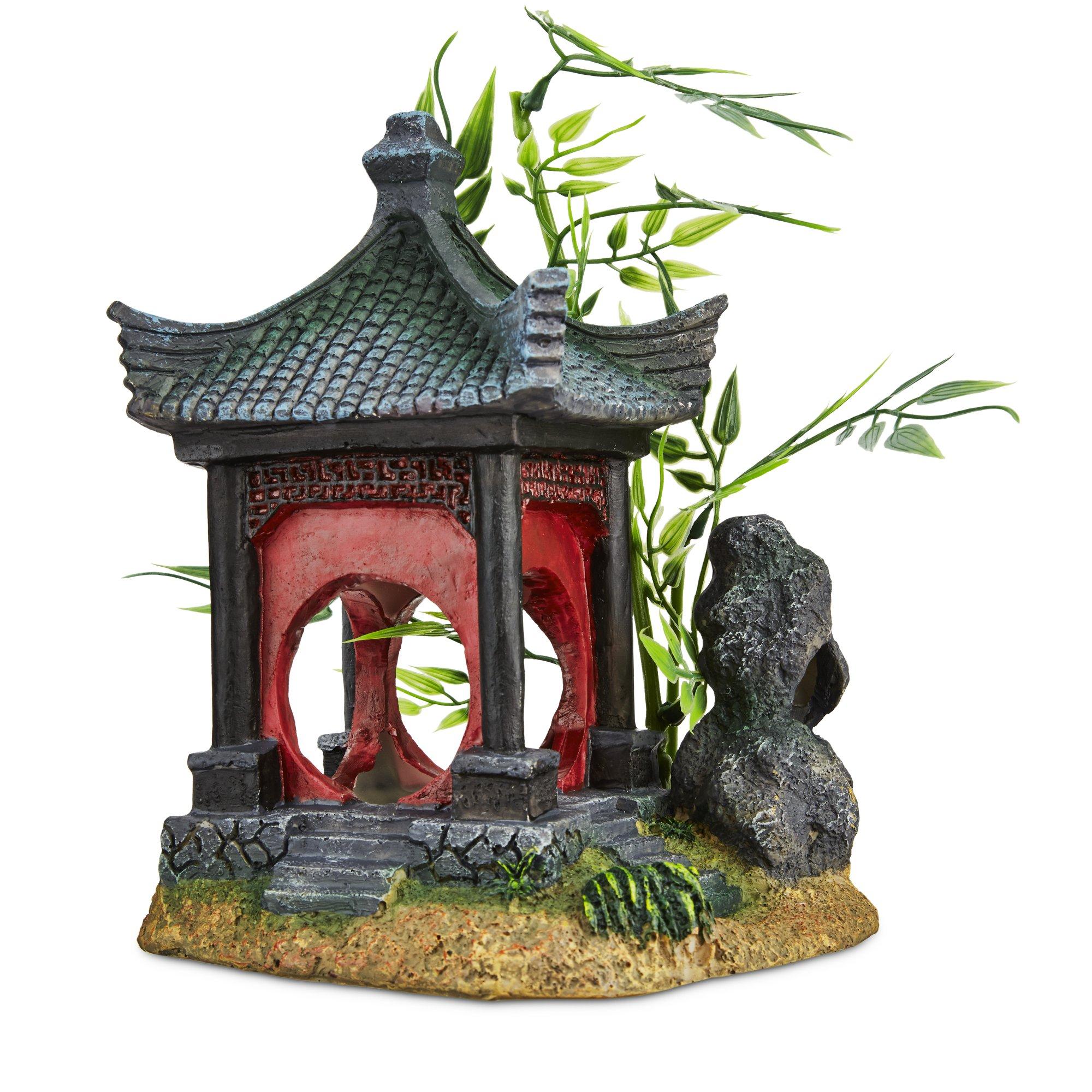Imagitarium asian gazebo with bamboo ornament petco for Petco fish tank decor