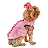 Smoochie Pooch Pink Ruffle Dog Bomber Jacket