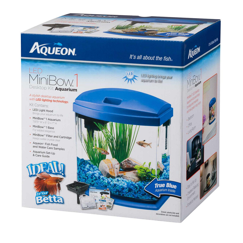 Aqueon minibow blue led desktop fish aquarium kit 1 for Fish tank kits