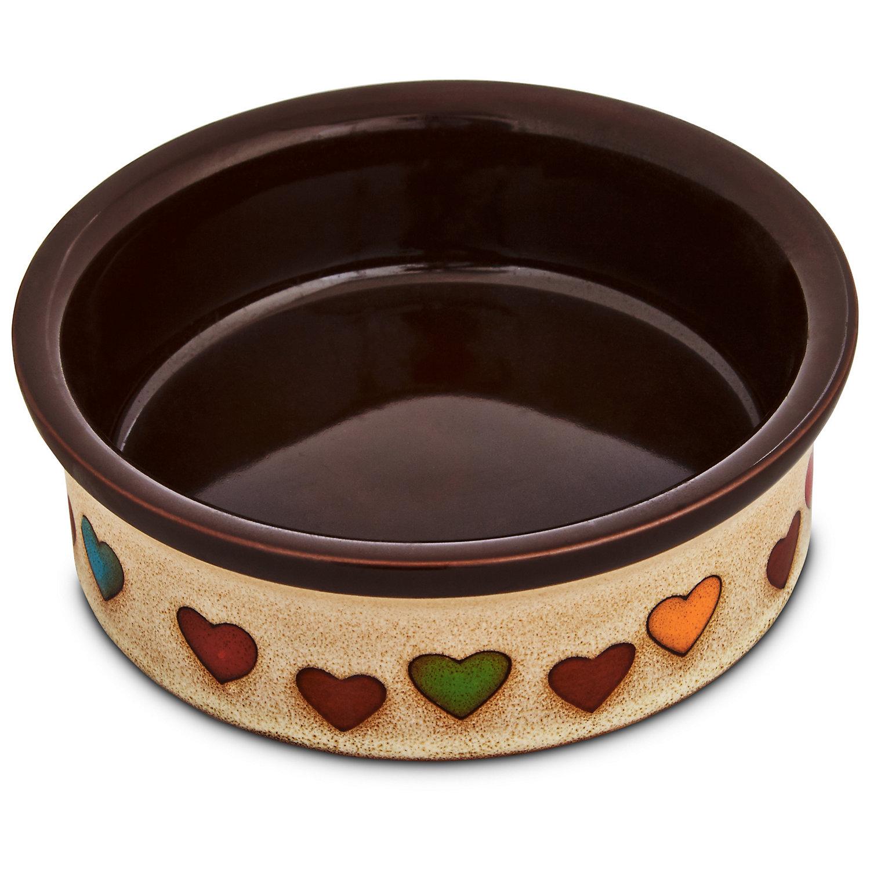 Harmony Heart Print Brown Ceramic Dog Bowl 1 Cup Small