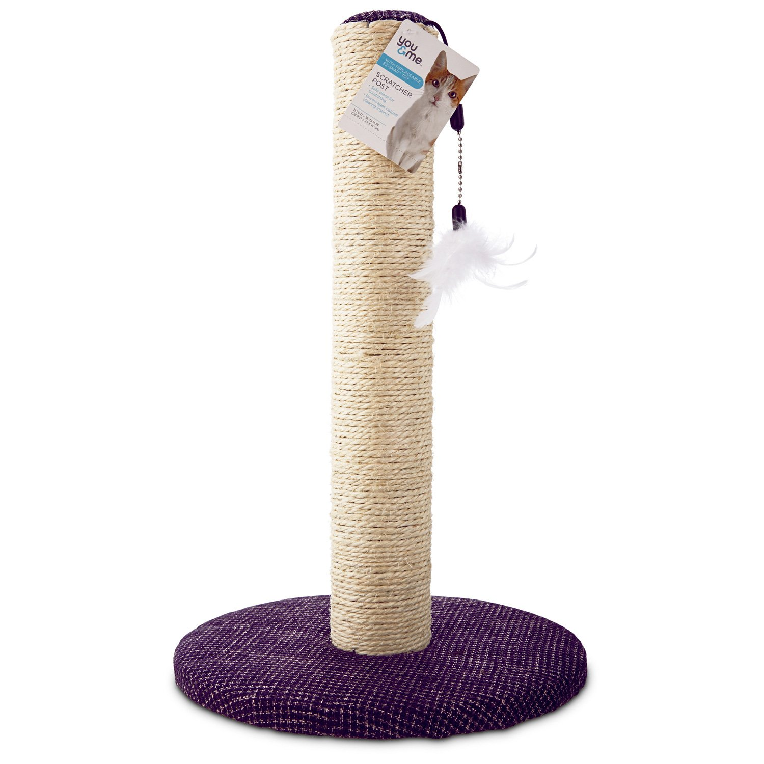 You & Me Sisal Cat Scratching Post Purple