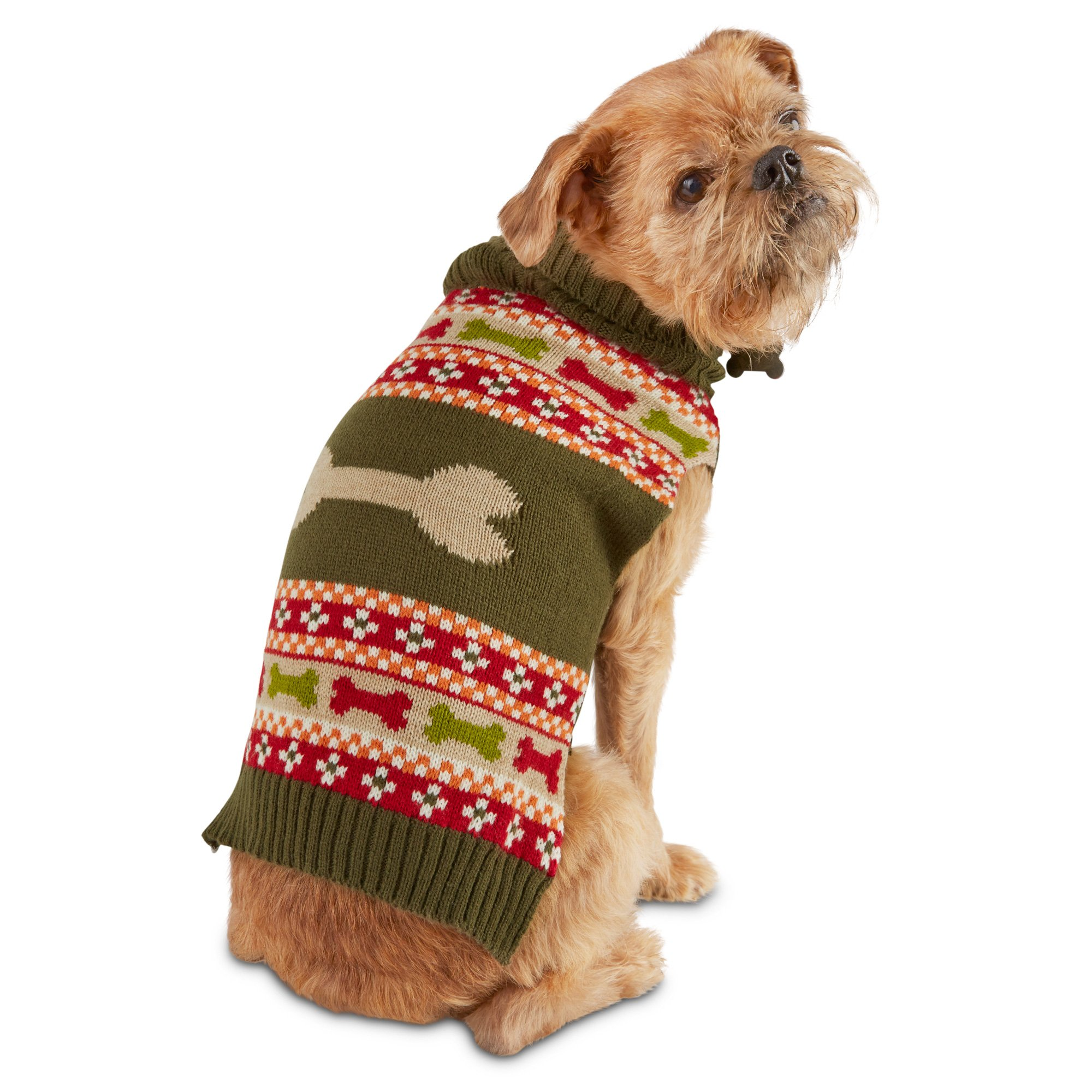 Wag-a-tude Olive Striped Dog Sweater
