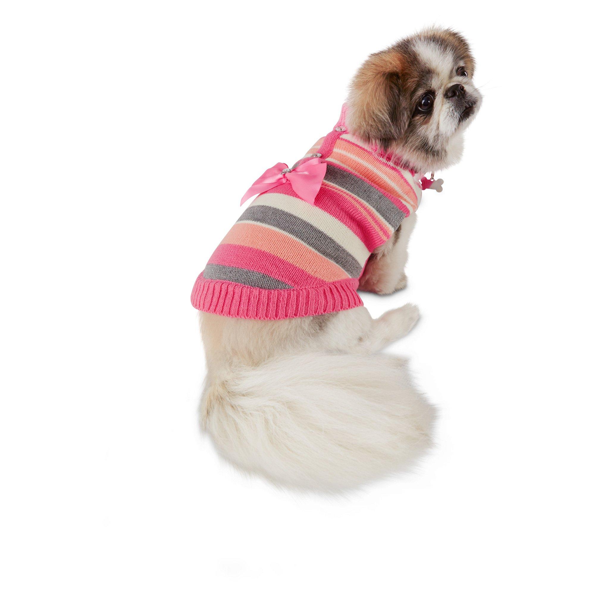 Smoochie Pooch Striped Bow Cardigan Dog Sweater