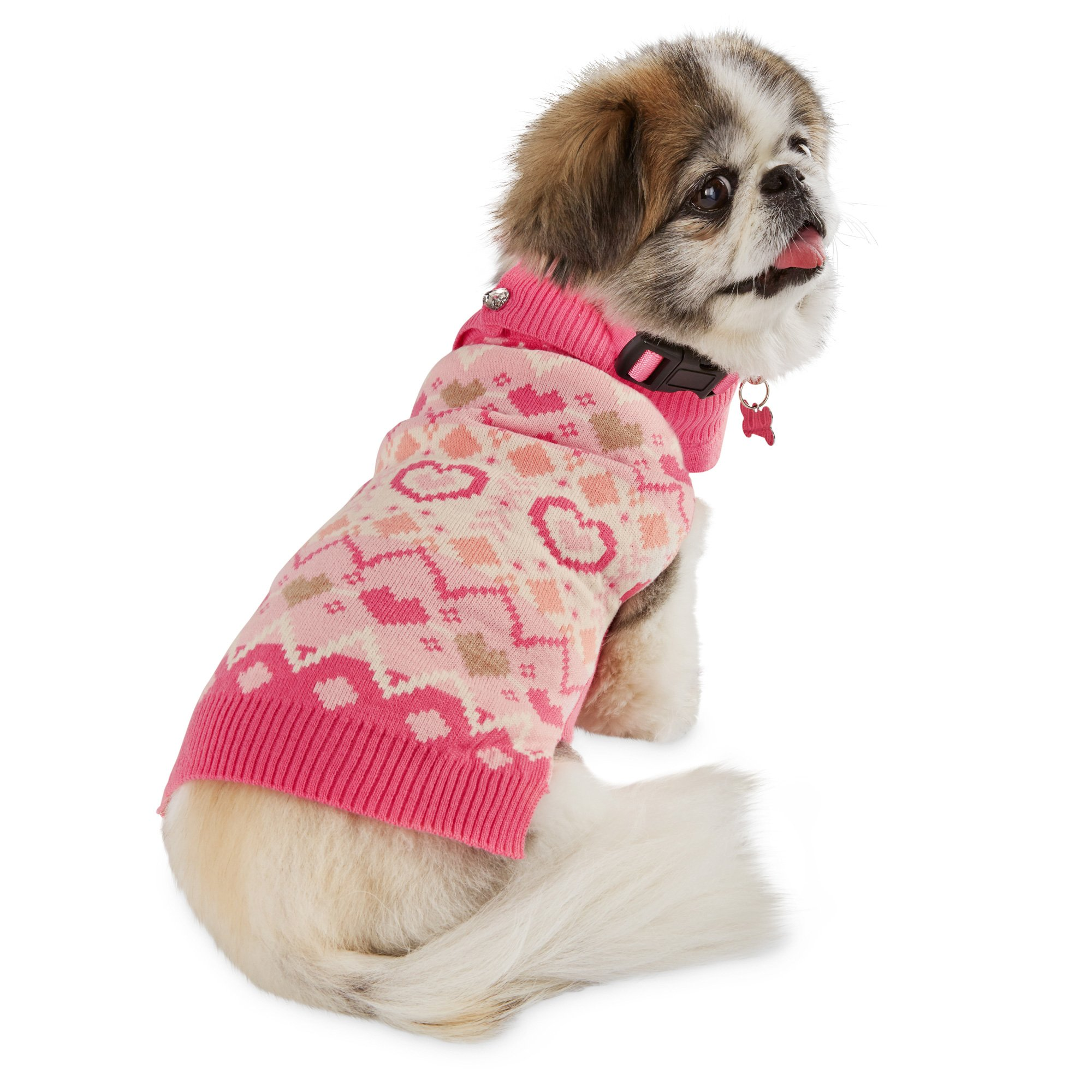 Smoochie Pooch Heart Knit Dog Sweater
