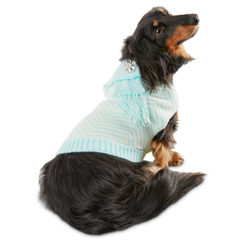 Smoochie Pooch Blue Chevron Scarf Dog Sweater