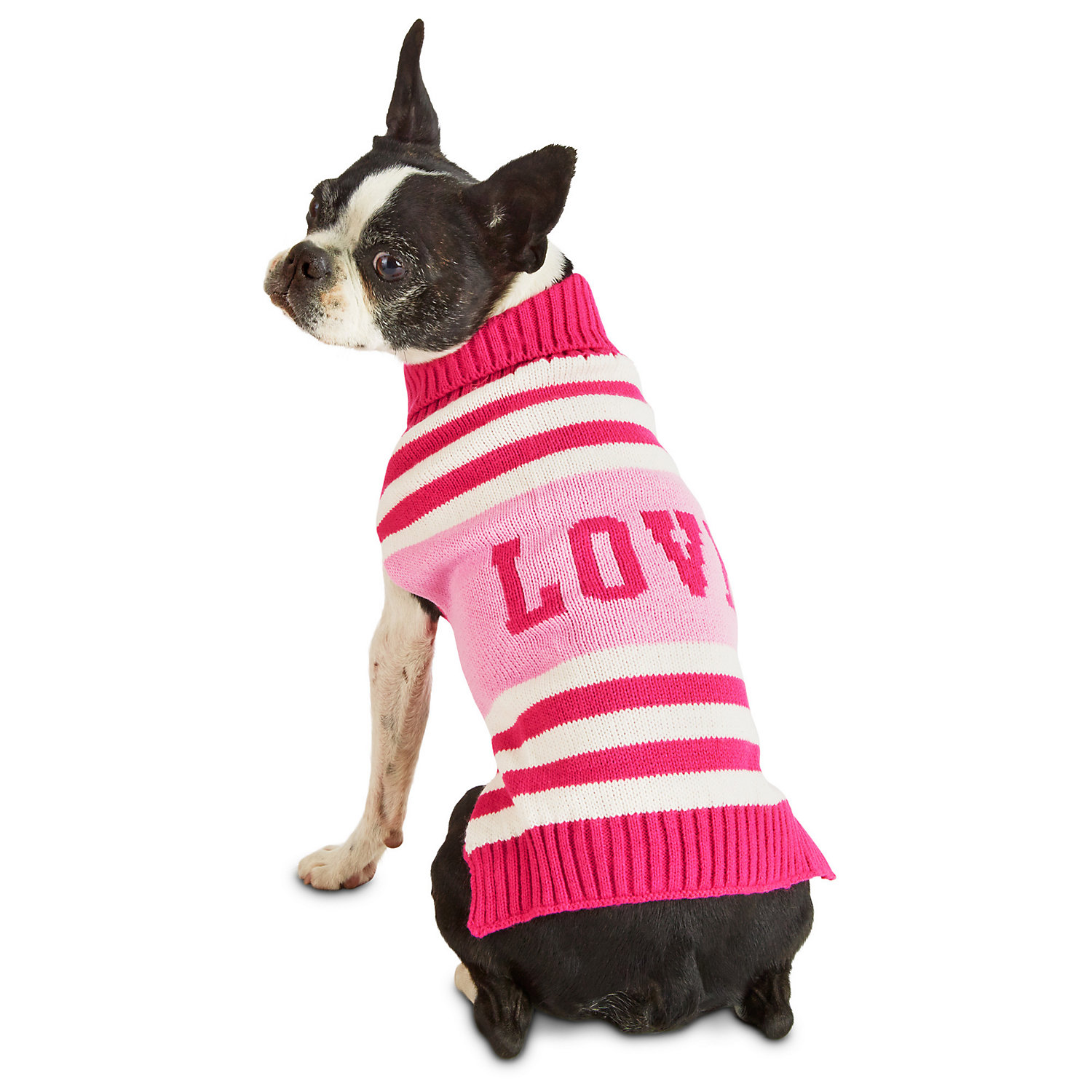 Pup Crew Pink Striped Love Dog Sweater, Medium