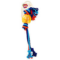 Leaps & Bounds Rubber Ball with Ropes Dog Toy