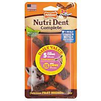 Nylabone Nutri Dent Complete Filet Mignon Flavor 3 Prong Dental Dog Chews