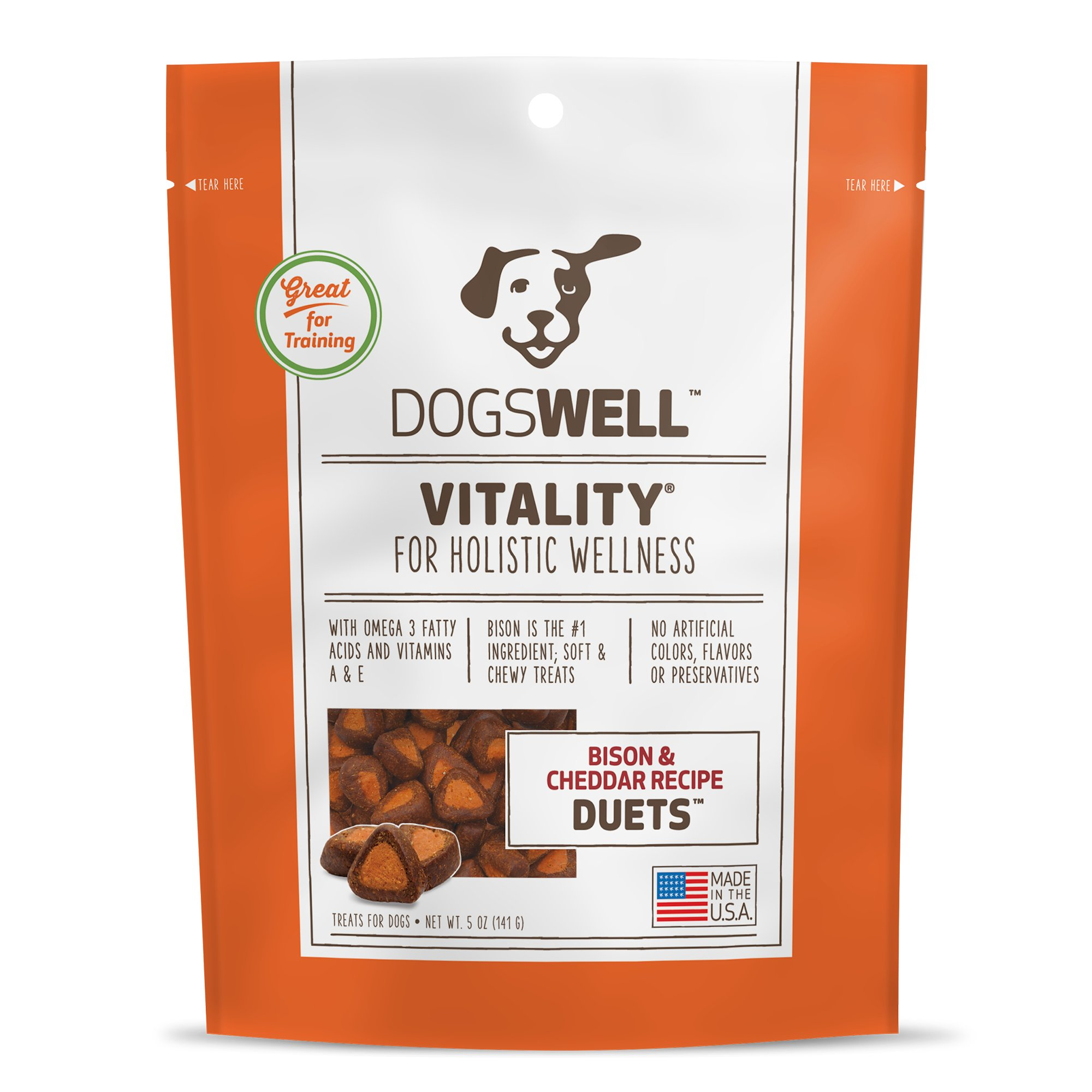 Dogswell Vitality Bison and Cheddar Duets Dog Treats