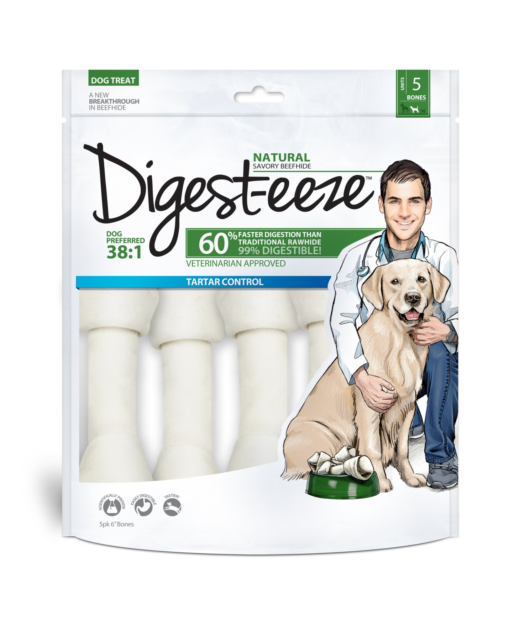 Digest-eeze 5-Pack Rawhide Bones Dog Treats