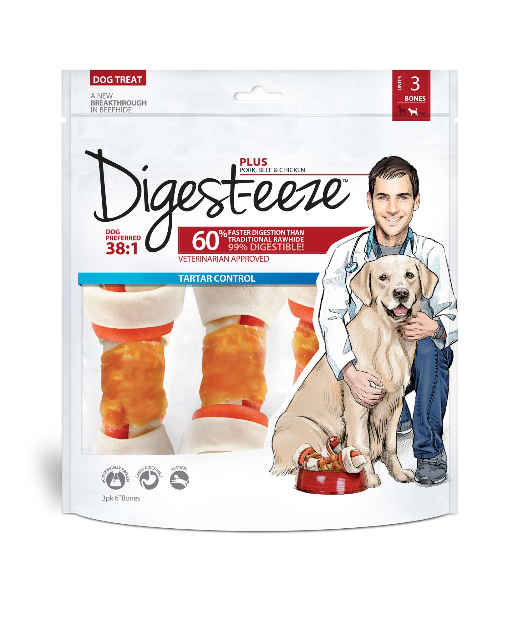 Digest-eeze Plus 3-Pack Flavored Rawhide Bones Dog Treats