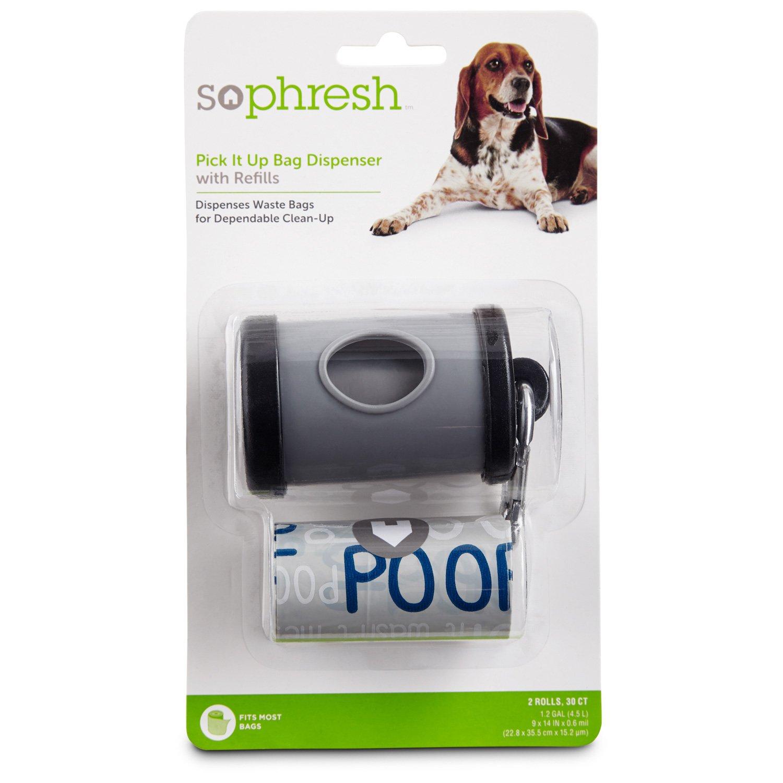So Phresh Pick It Up Gray Dog Bag Dispenser with Refill