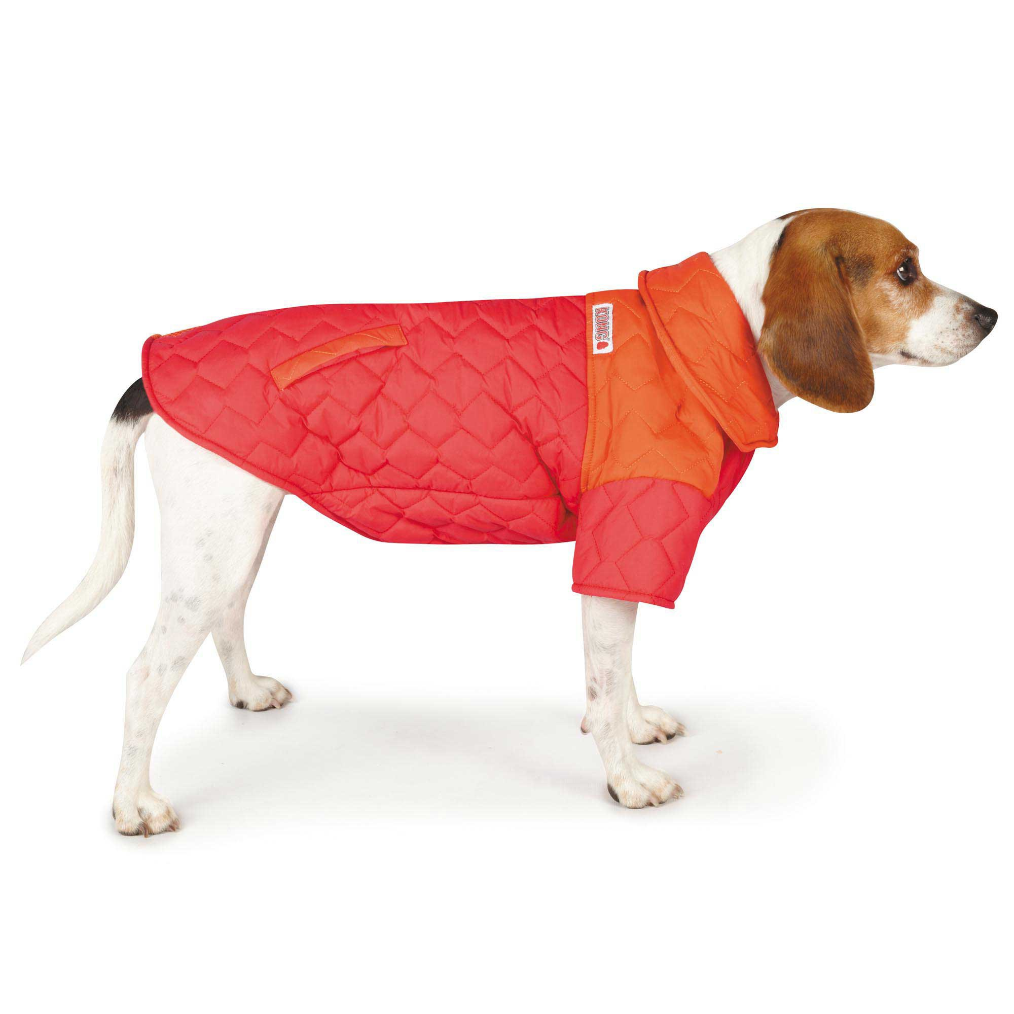 KONG Quilted LED Puffy Red Dog Coat