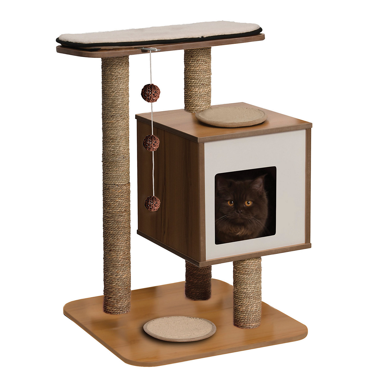 Vesper Cat Furniture V Base Walnut White / Tan