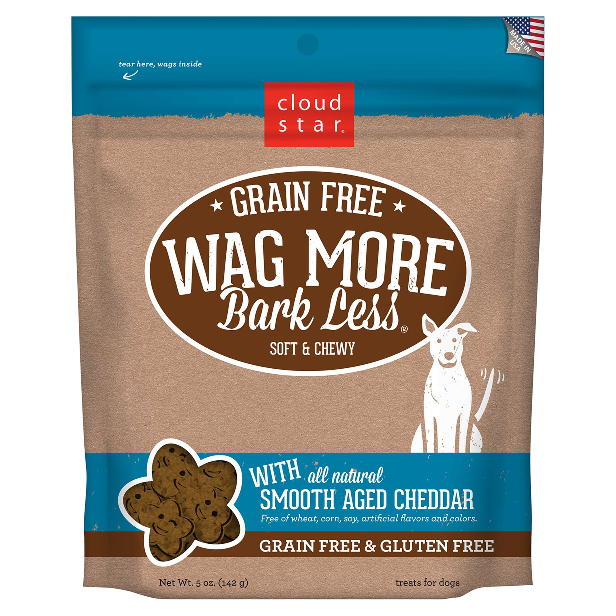 Cloud Star Wag More Bark Less Grain Free Soft & Chewy Cheddar Dog Treats