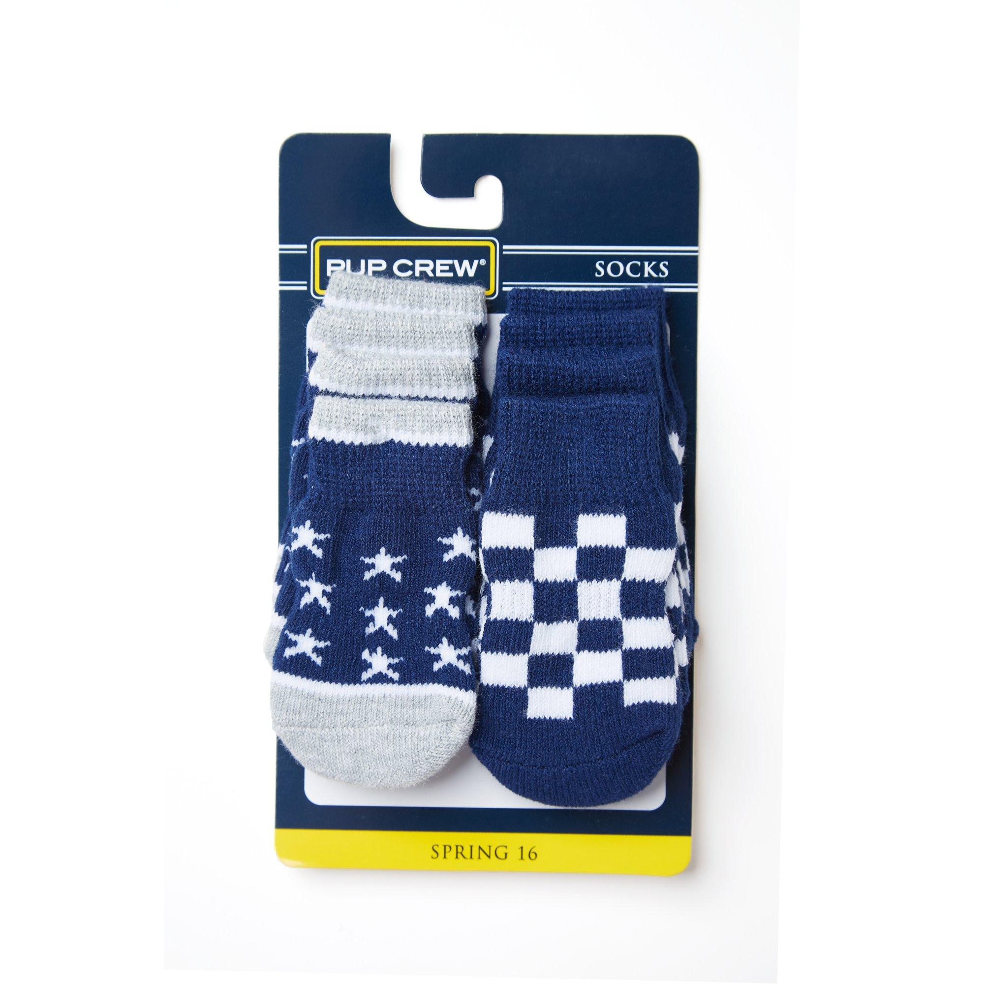 Wag-A-Tude Navy Star and Checkered Sock Set