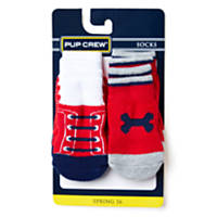 Pup Crew Red Lace-up and Red and Blue Bone Sock Set