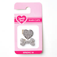 Smoochie Pooch Heart and Bone Hairclip Set