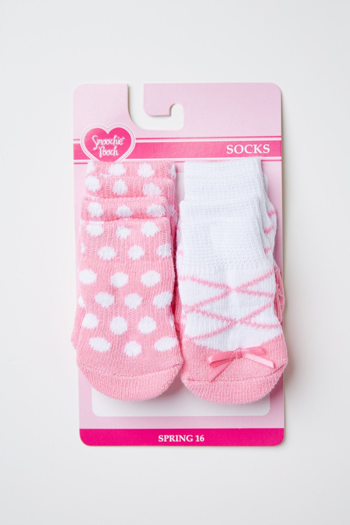 Smoochie Pooch Pink and White Dot and Ballerina Sock Set