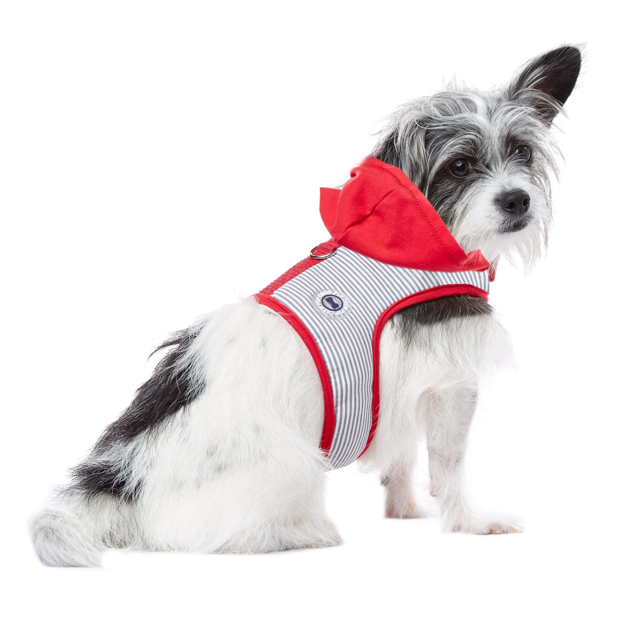 Pup Crew Grey and Red Stripe Hooded Harness