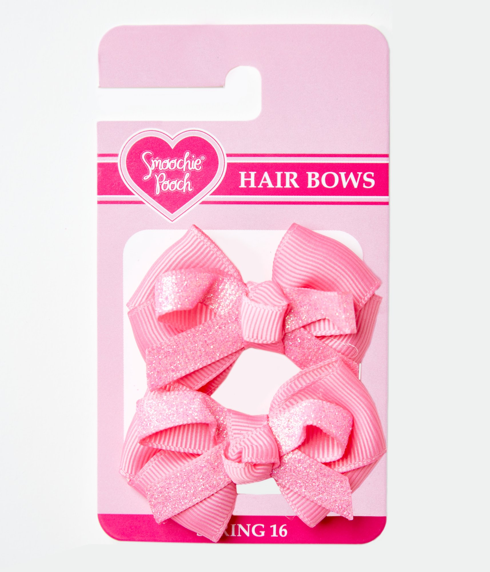 Smoochie Pooch Pink Glitter Loopy Bows