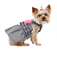 Smoochie Pooch Black Gingham Empire Ruffle Bodice with Pink Flowers Dress