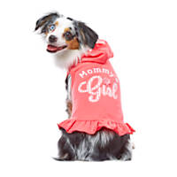 Smoochie Pooch Coral Mommy's Girl Ruffle Hoodie