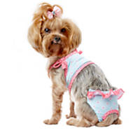 Smoochie Pooch Blue and Coral Flower Print Swimming Suit