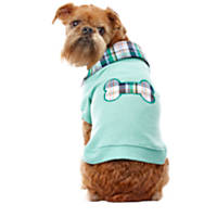 Wag-A-Tude Green Multi Plaid Bone Collared T Shirt