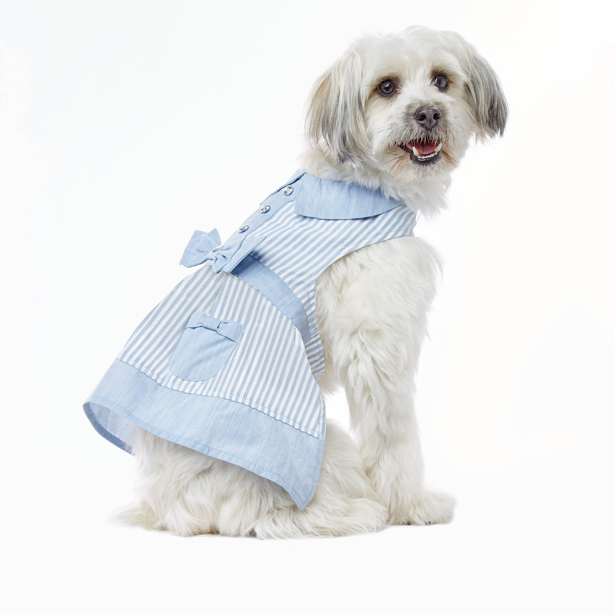 Smoochie Pooch Chambray Striped Pocket Apron Dress