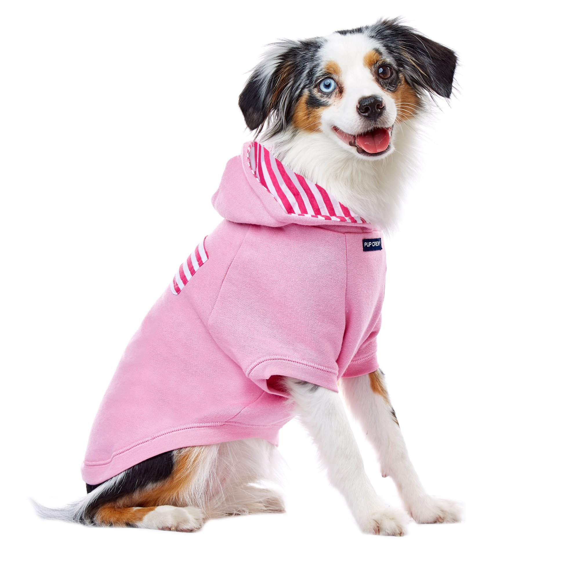 PupCrew Light Pink Raglan with Hot Pink Striped Pocket Hoodie