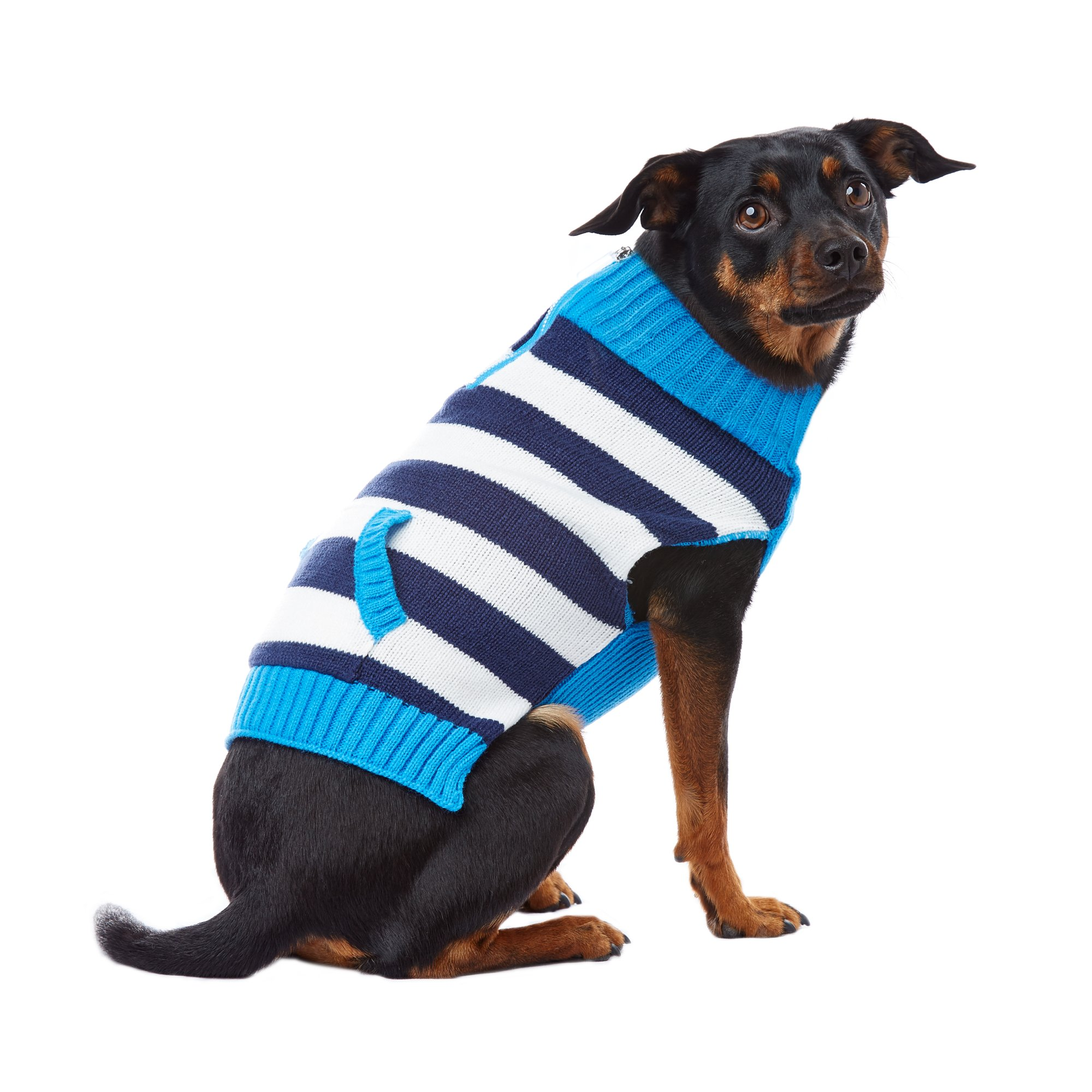 PupCrew Navy and White Stripe Peekaboo Zipper Sweater