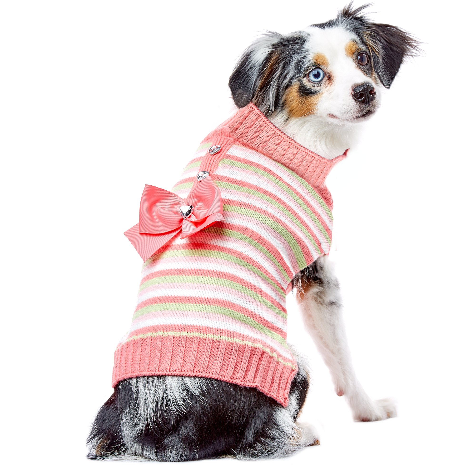 Smoochie Pooch Pink and Green Striped Half Placket Bow Sweater