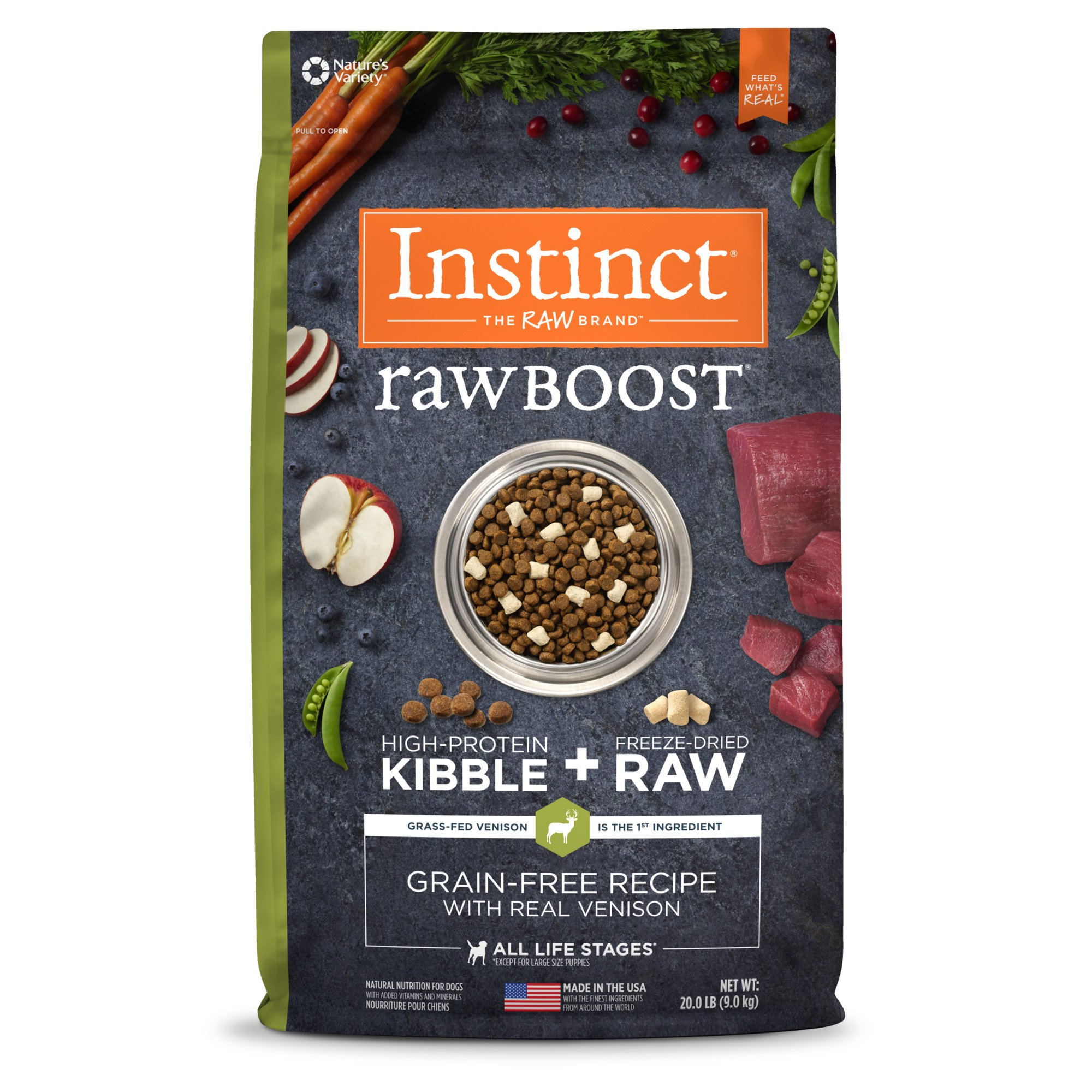 Nature's Variety Instinct Raw Boost Grain-Free Venison & Lamb Meal Dog Food