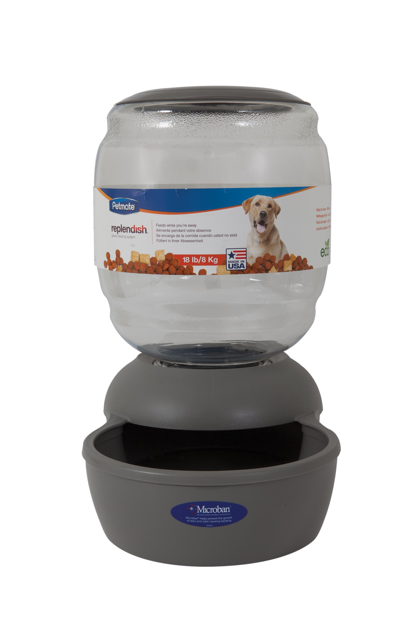 Petmate Replendish Gravity Feeder Grey Dog Bowl Petco